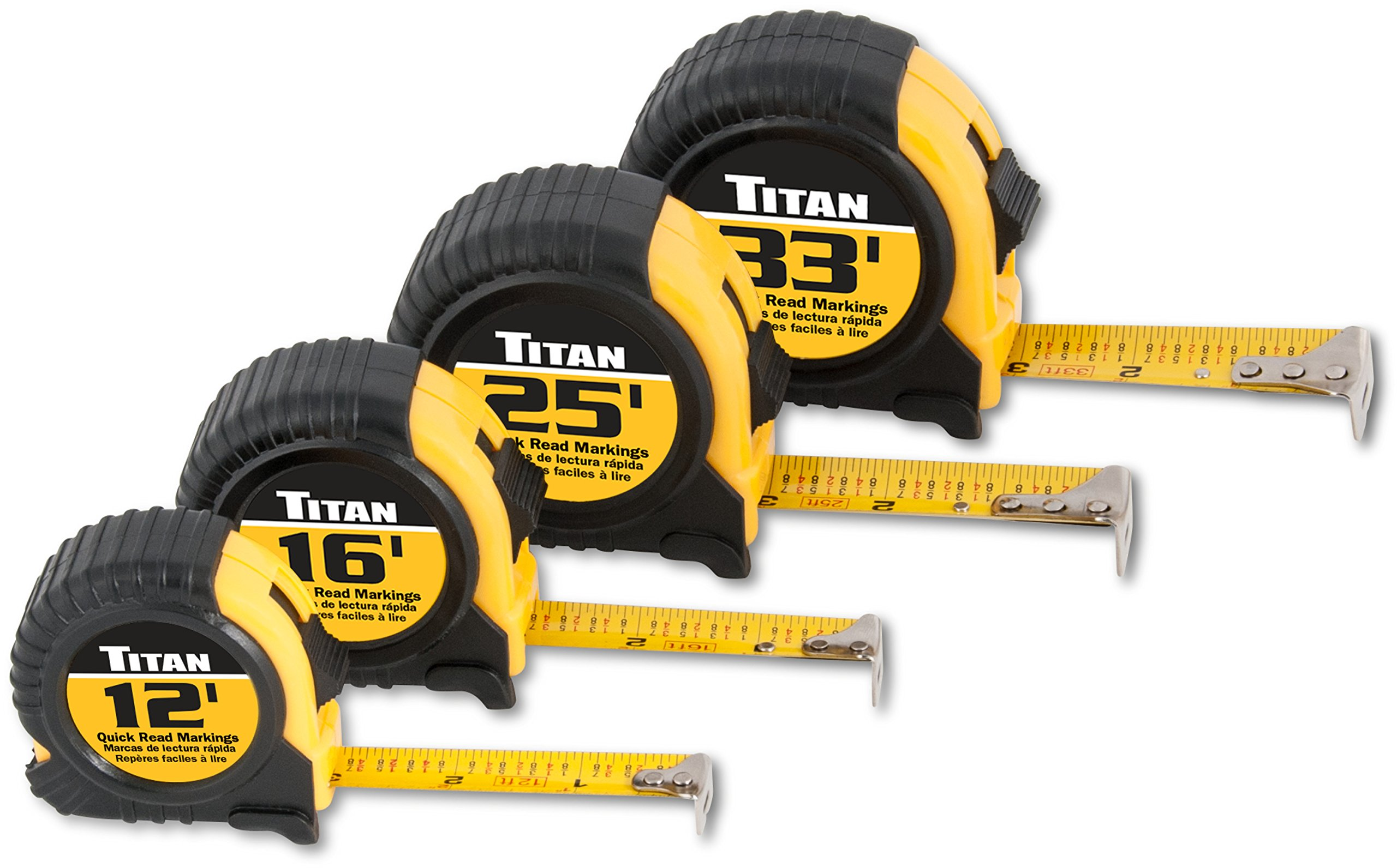 Titan Tools 10902 4-Piece Tape Measure Set (12', 16', 25' and 33') by TITAN