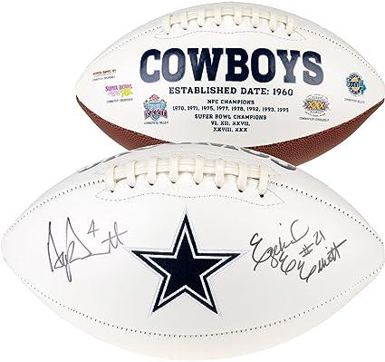 8f0289f02f3 Ezekiel Elliott & Dak Prescott Dallas Cowboys Dual Signed White Panel  Football - Fanatics Authentic Certified