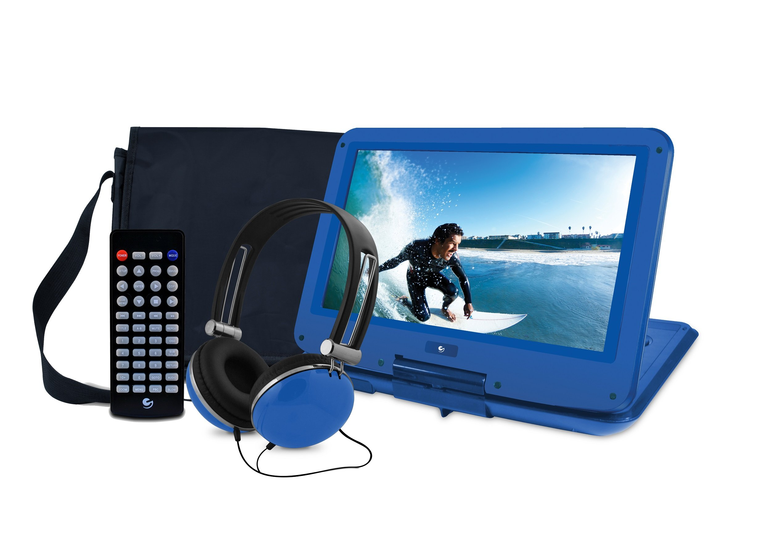 Ematic Portable DVD Player with 12-inch LCD Swivel Screen, Travel Bag, Headphones and Remote Control, Blue