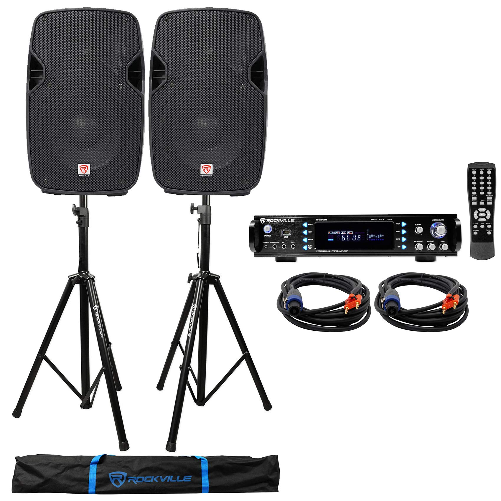 (2) Rockville SPGN104 10'' 1600w DJ PA Speakers+Bluetooth Amplifier+Stands+Cables by Rockville