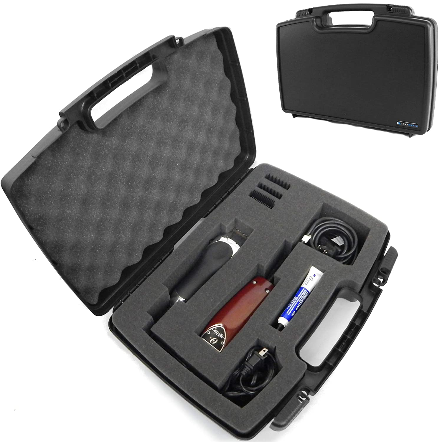 CASEMATIX Hard Shell Barber Case Clippers Travel Organizer and Foam Stylist Barber Bag for Clipper, Buzzer, Trimmer and Supplies - Fits Oster Classic 76, Andis Cordless, Blades, Scissors - Case Only