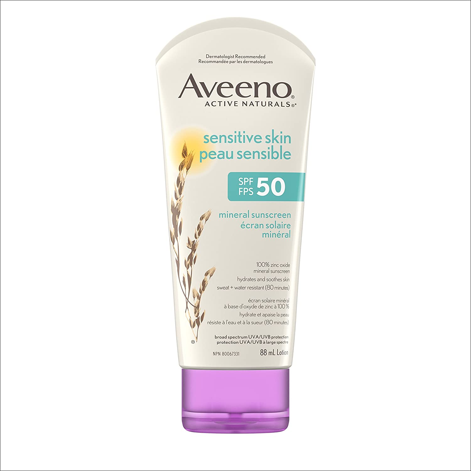 Aveeno Mineral Sunscreen Lotion SPF 50, with Zinc Oxide Active Naturals for Sensitive Skin, 88ml Johnson & Johnson