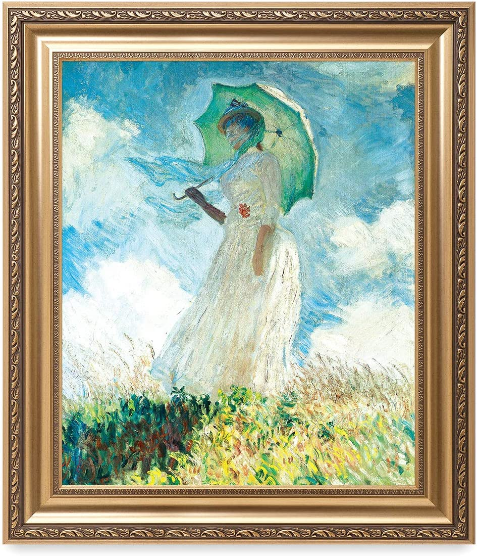 DECORARTS - 'Woman with a Parasol (Facing Left) 1886' by Claude Monet. Classic Art Reproduction, Giclee Print on Canvas. Ready to Hang Framed Wall Art for Wall Decor. Total Size w/Frame: 26x30