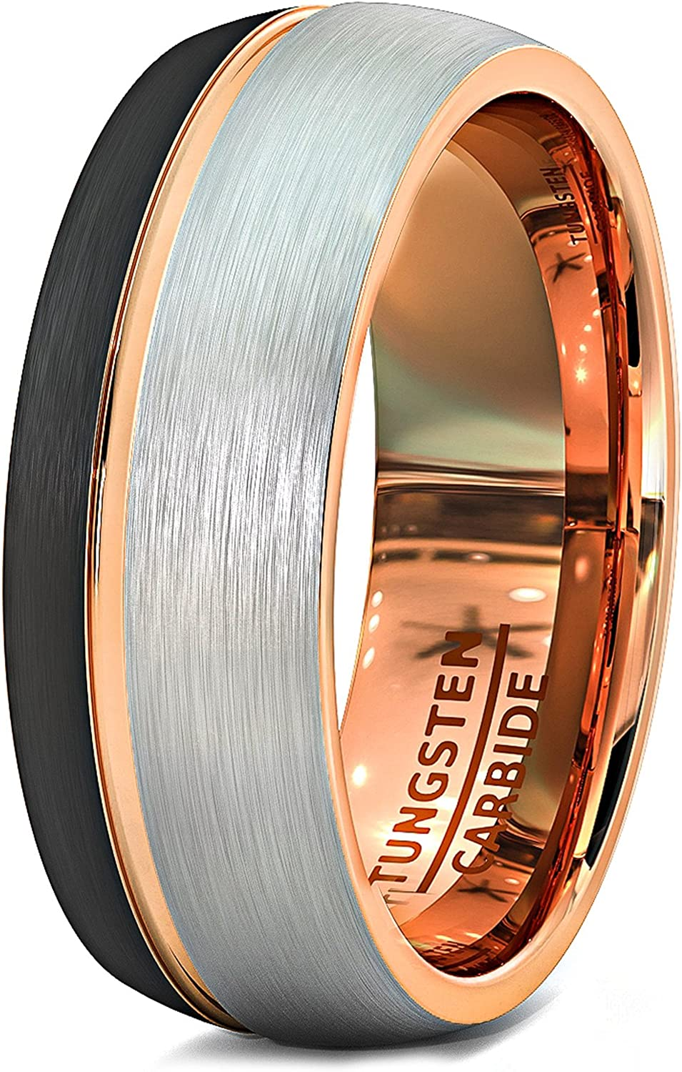 Duke Collections Mens Wedding Band 8mm Black Matte Brushed Tungsten Ring Thin Side Rose Gold Groove Line Dome Shape Edge Comfort Fit