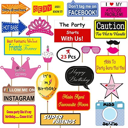 Party PropzTM Birthday Photobooth Props Set Of 23 Pieces Happy Decoration Supplies Banner For Amazonin