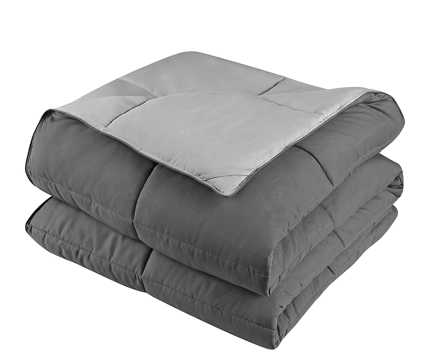 Twin//Twin XL,Dark Gray//Light Gray Soft Fluffy HOMECHOICE HOMECHOICE-DOWNALTERNATIVE Hypoallergenic 2pc Down Alternative Comforter Set -All Season Reversible Comforter with One Sham -Quilted Duvet Insert with Corner Tabs -Box Stitched