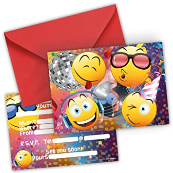 Funny Birthday Invitations Set Of 12 Cards Envelopes For Boys Girls Kids Disco Party