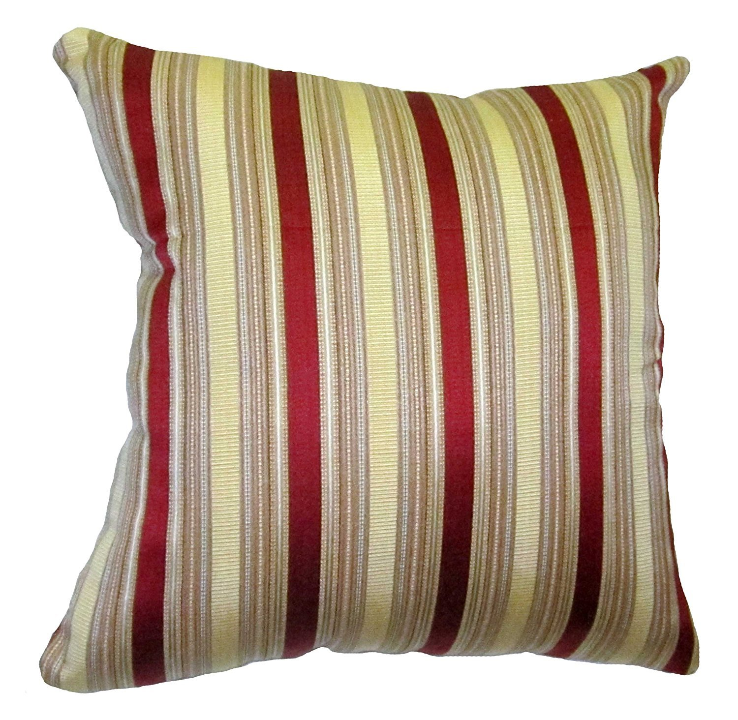 20x20 Burgundy and Gold Stripes Brocade Decorative Throw Pillow Cover