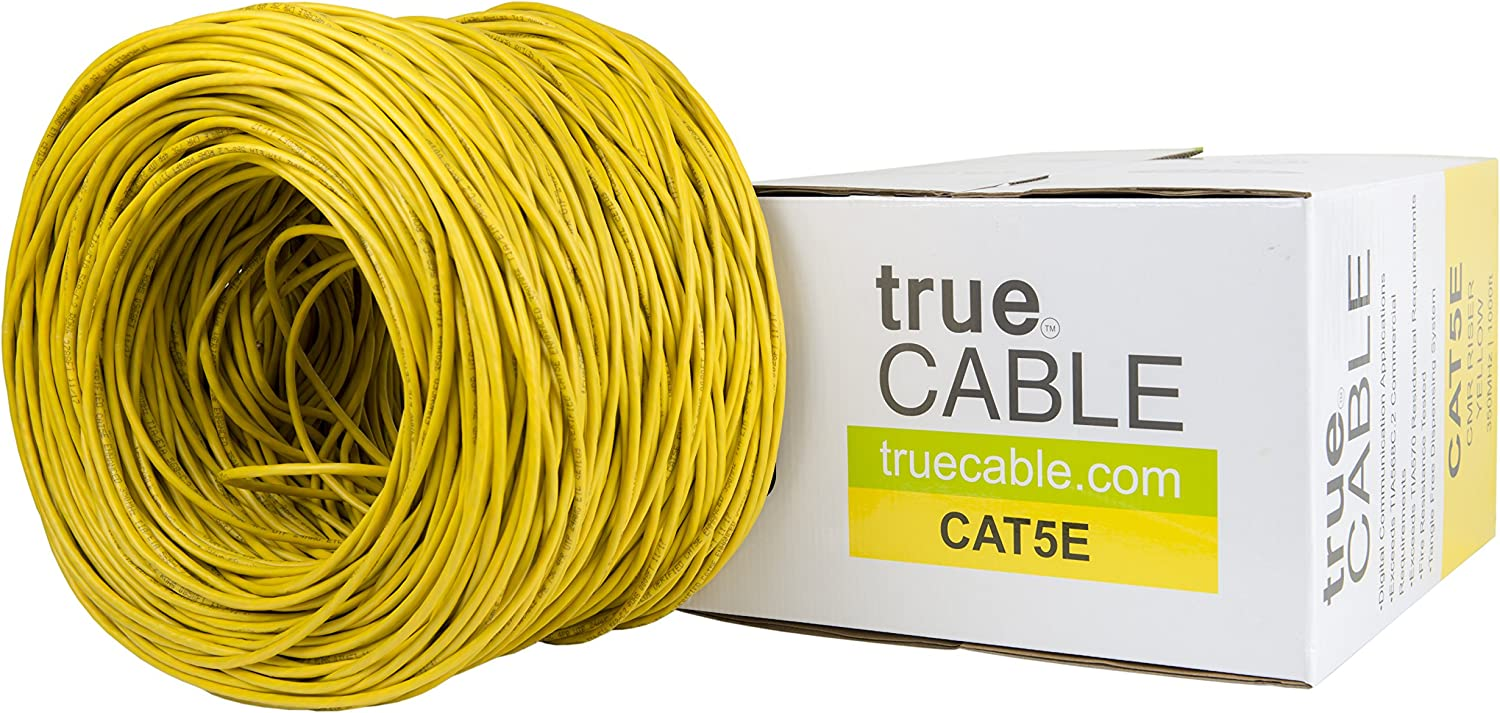 Blue 1000ft ETL Listed 350MHz Bulk Ethernet Cable UTP CMR trueCABLE Cat5e Riser 24AWG 4 Pair Solid Bare Copper Unshielded Twisted Pair