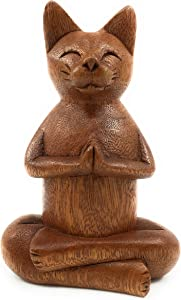 Ruth + Wilde Namaste Cat - Hand Carved Wood from Bali - Yoga Buddha Zen Cat