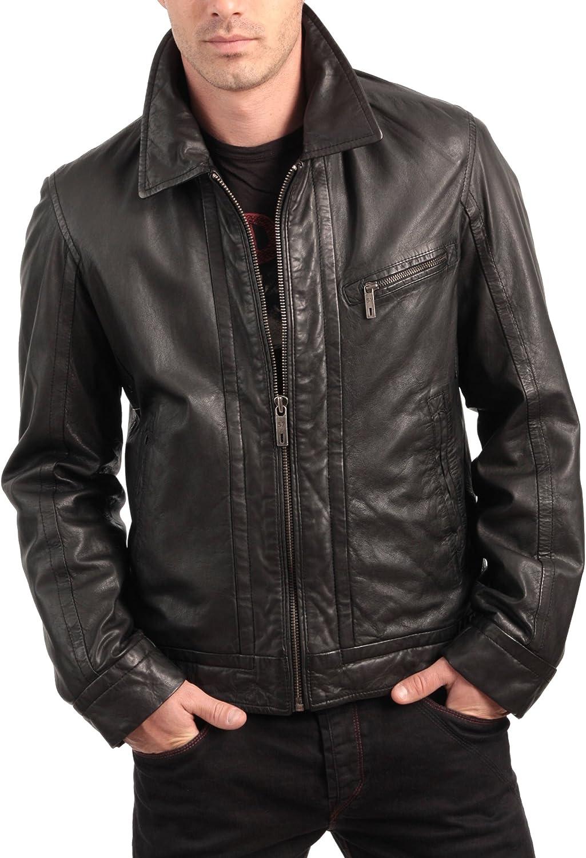 Men Leather Jacket Biker Motorcycle Coat Slim Fit Outwear Jackets N008
