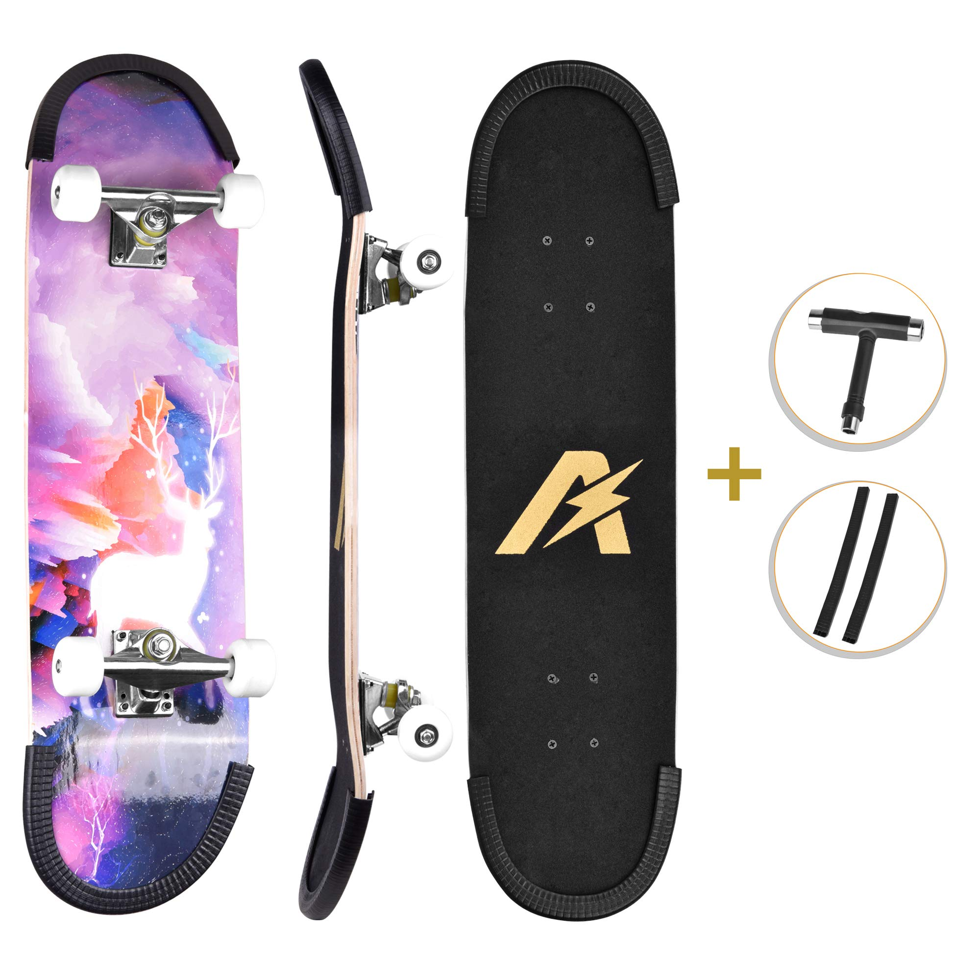 UsTinE Pro Skateboard 31'' X 8'' Standard Skateboards Cruiser Complete Maple 9 Layers Double Kick Concave Skate Boards