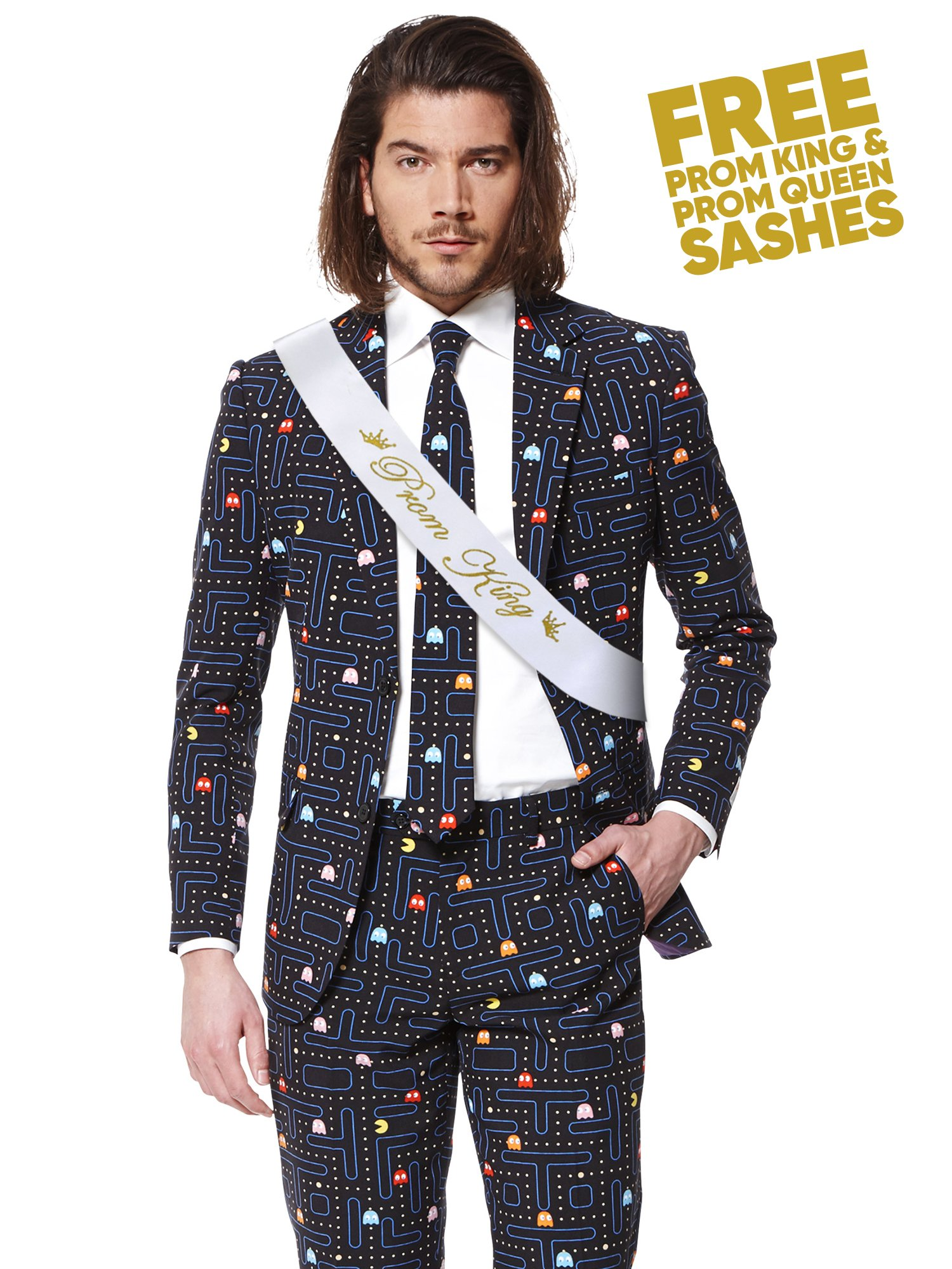 Opposuits Fancy Colored Suit For Men Now With Free Prom King and Prom Queen Sash,Pac-manTM,US44