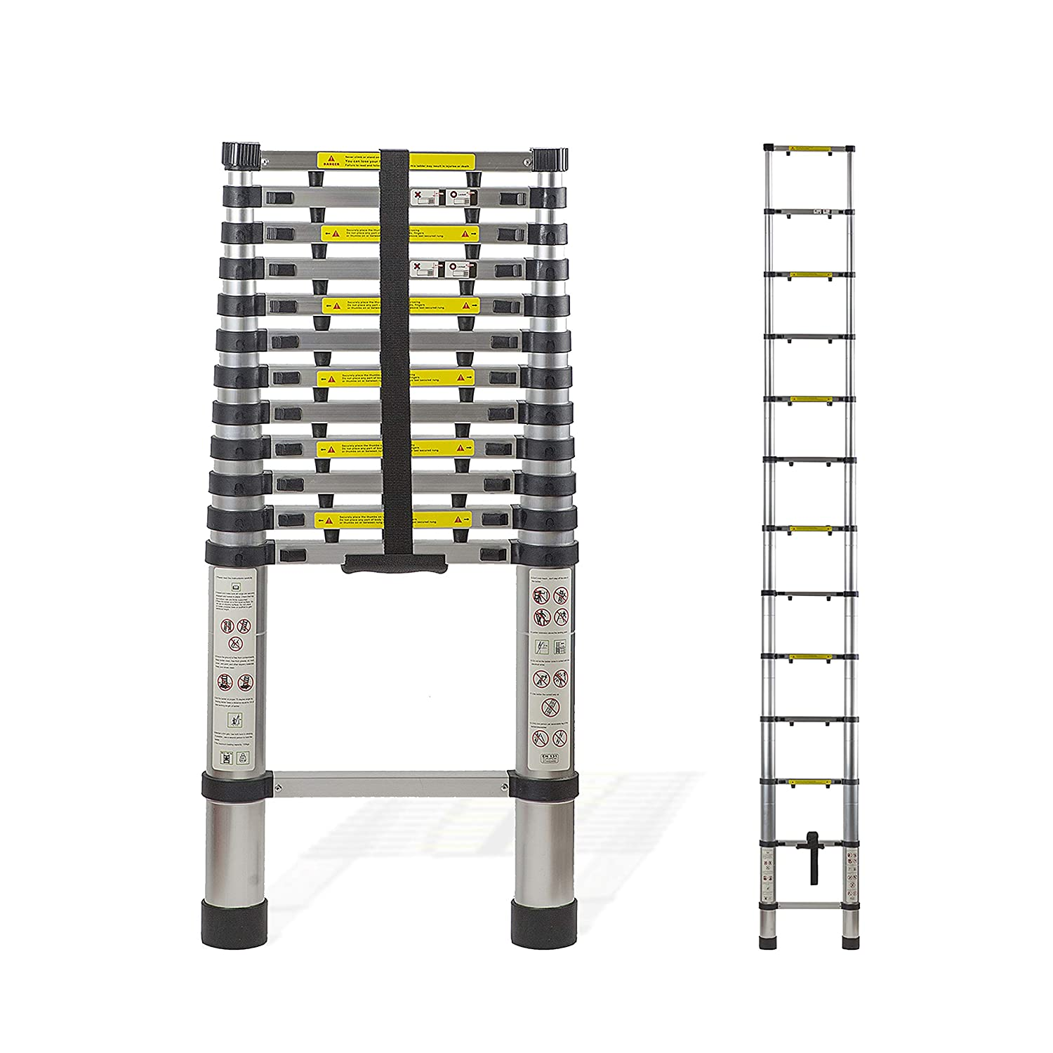 Aluminum 12.5 FT Telescoping Ladder Extendable Multi-Purpose: Finger Protection Spacers, Slip-Proof Feet, Portable Heavy Duty, Super Size Telescope Extension Collapsible, En131 Certified