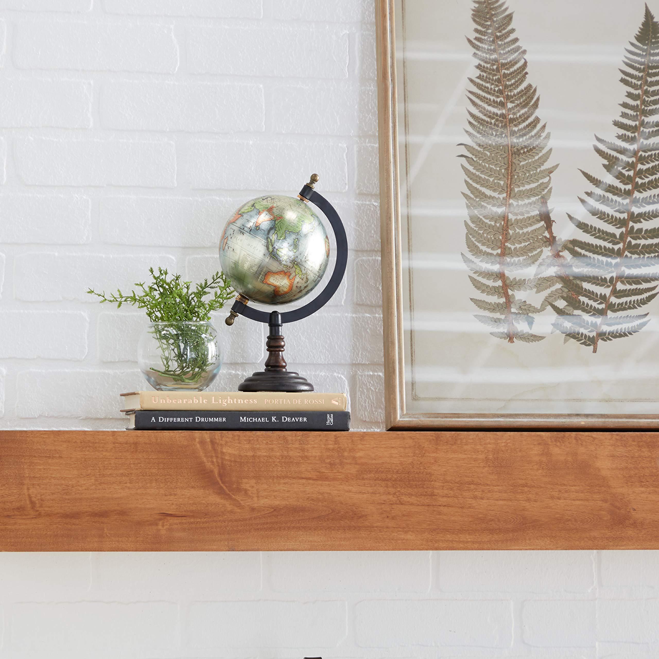 Globo terraqueo de metal con base de madera (25.5 x 13 cm)