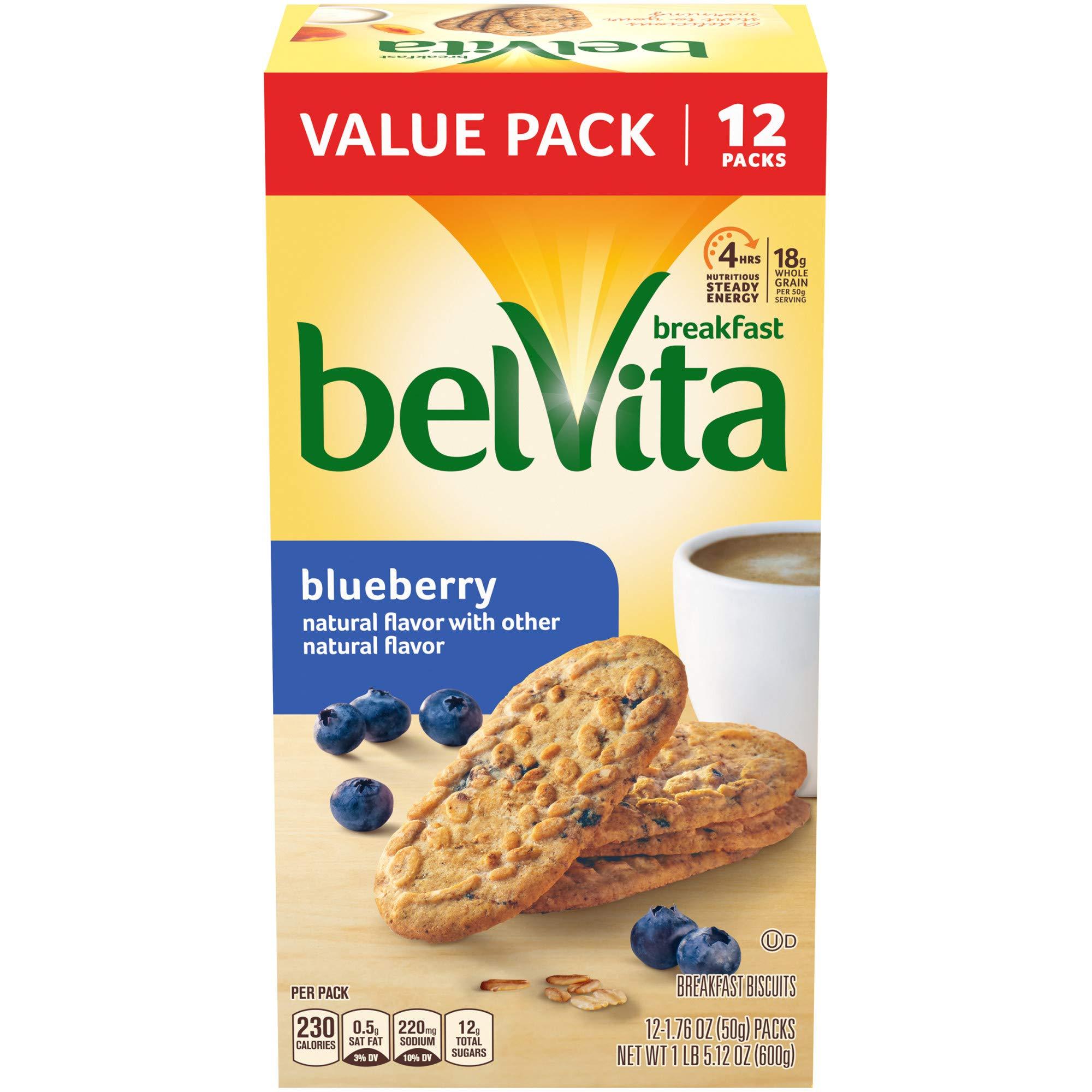belVita Blueberry Breakfast Biscuits, 12 Packs (4 Biscuits Per Pack)