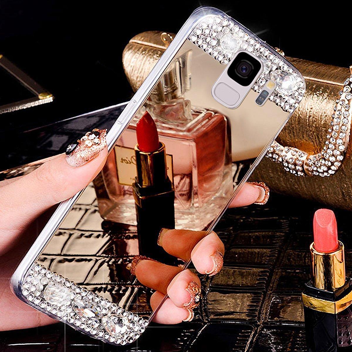 Kompatibel mit Galaxy S9 H/ülle Silikon Spiegel /Ü/Überzug Mirror Handyh/ülle Schutzh/ülle Case Gl/änzend Strass TPU H/ülle Durchsichtig Handytasche,Gold