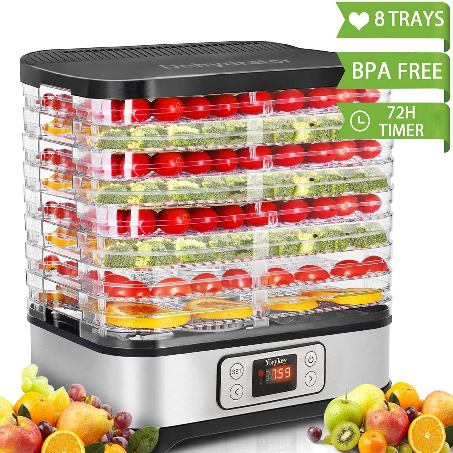 Hauture Food Dehydrator Machine, Digital Timer and Temperature Control, 8 Trays - For Beef Jerky Preserving Wild Food and Fruit Vegetable Dryer in Home Kitchen, BPA Free/400 Watt by Hauture (Image #1)