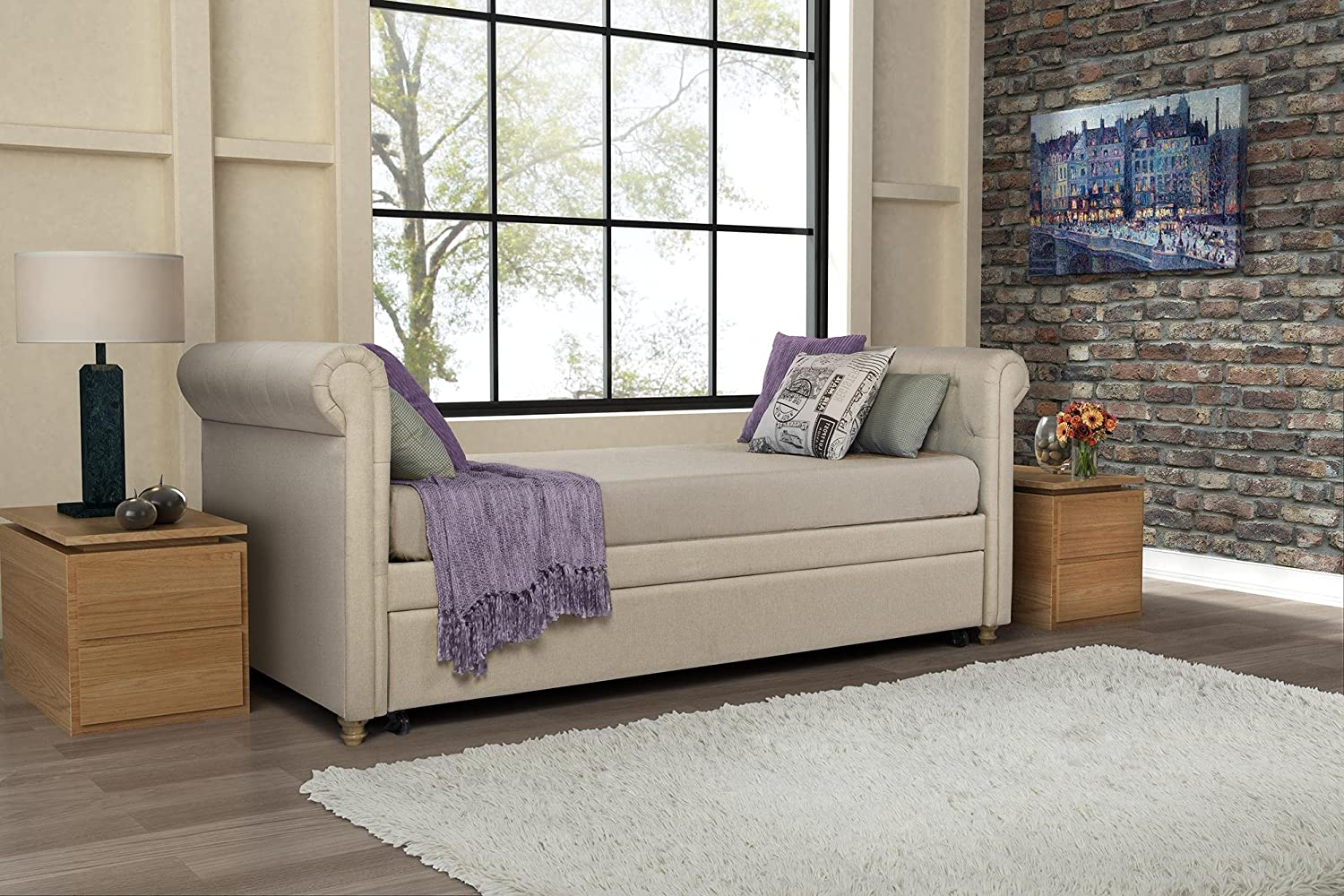 amazoncom dhp giada upholstered daybed and trundle classic design twin size tan kitchen u0026 dining