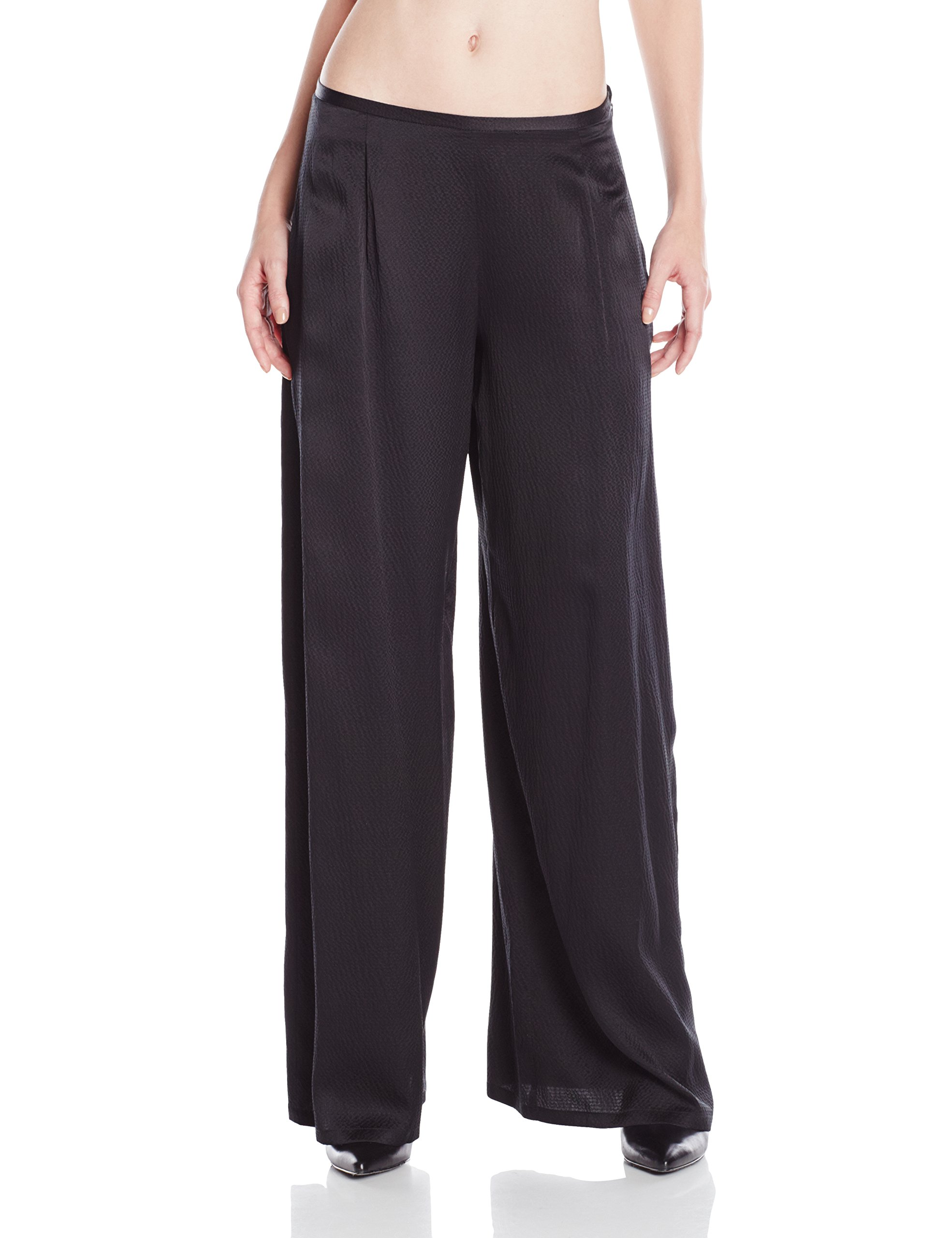 4 Corners of a Circle Hammered Silk Wide Pant 10 Black