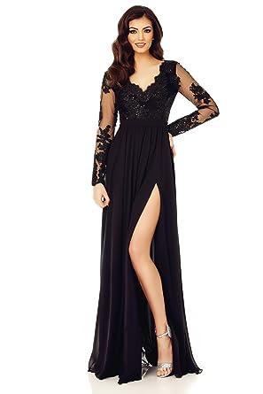 0eaea4d61 Miss Grey Mujer Ropa de Noche Largo Acampanado Escote V Bordados Elegante  Vestido de Fiesta Negro X-Large  Amazon.es  Ropa y accesorios
