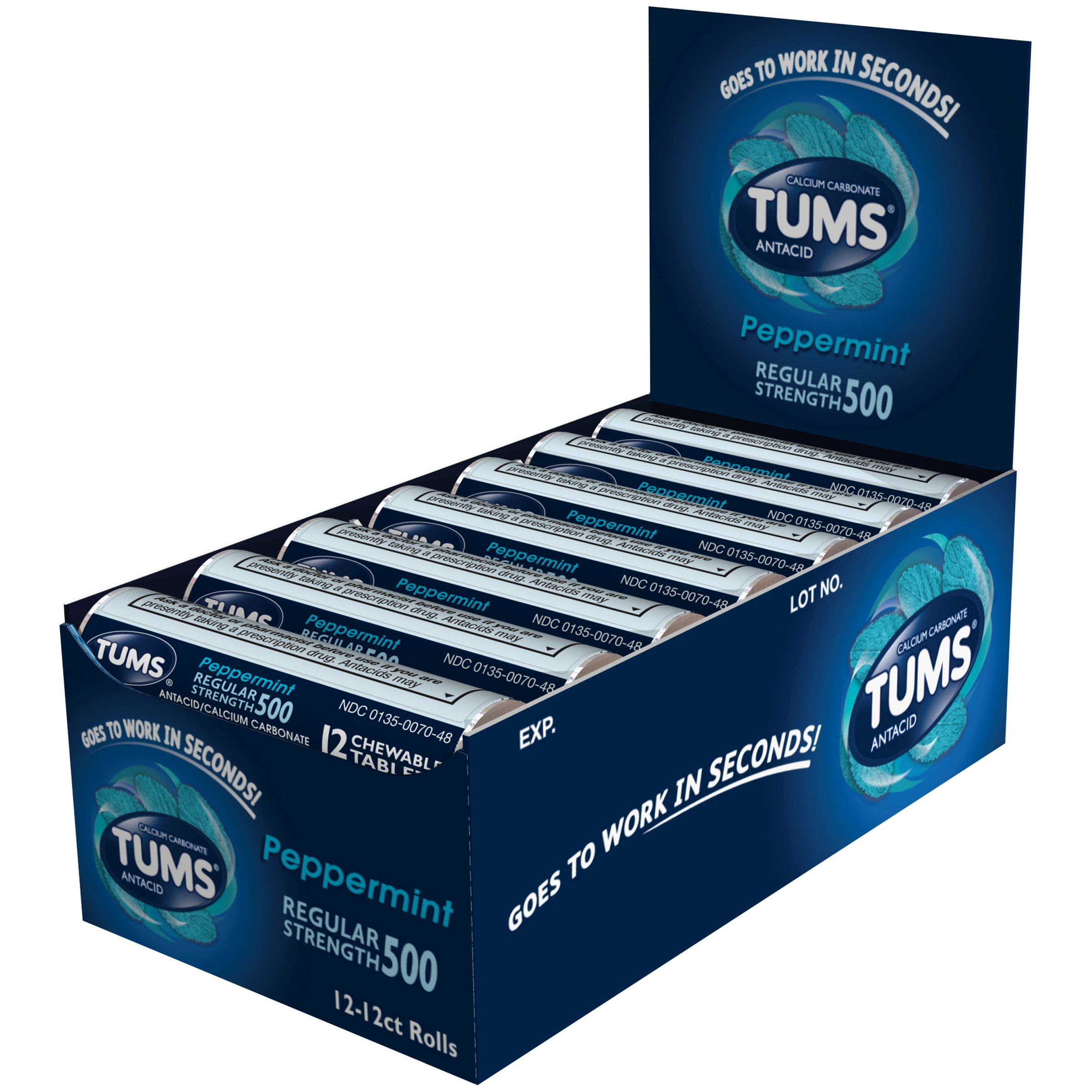 Tums Regular Strength, Peppermint, 12-Count Rolls (Pack of 12) by TUMS