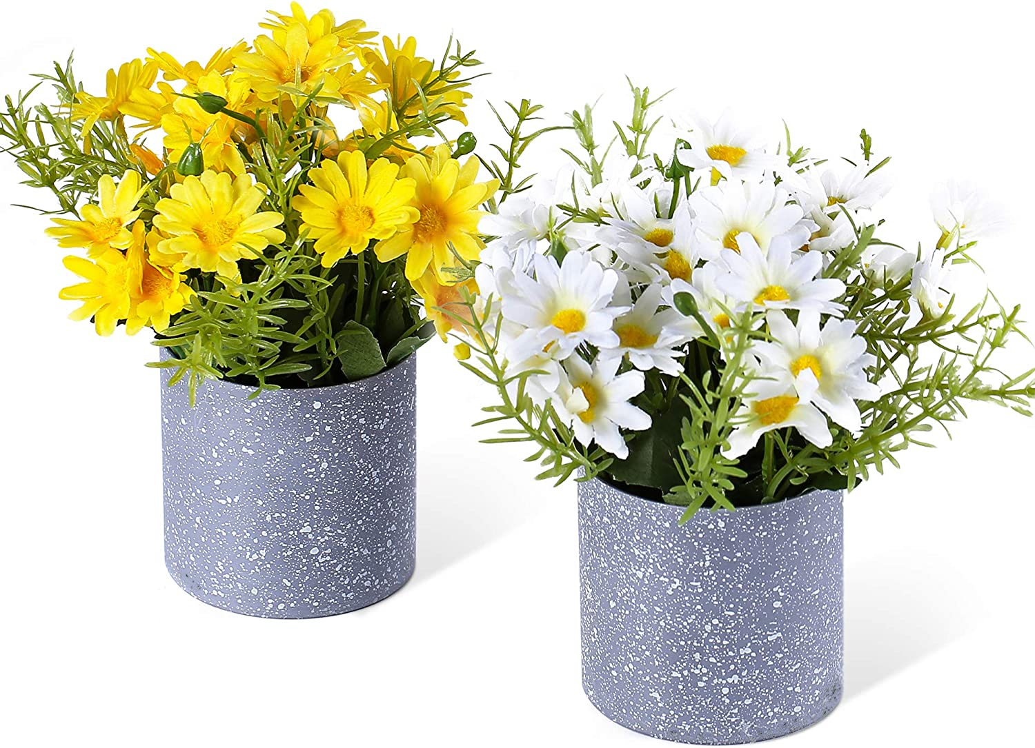 LUEUR Set of 2 Artificial Daisy Flowers in Pots Artificial Gerber Daisies Fake Sunflower Potted Plants Arrangement for Indoor Office Tabletop Decor Wedding Centerpiece Decoration Yellow & White