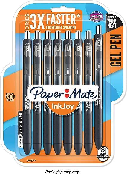 Bolígrafos de gel Inkjoy de Paper Mate, color negro 8-Pack: Amazon.es: Oficina y papelería