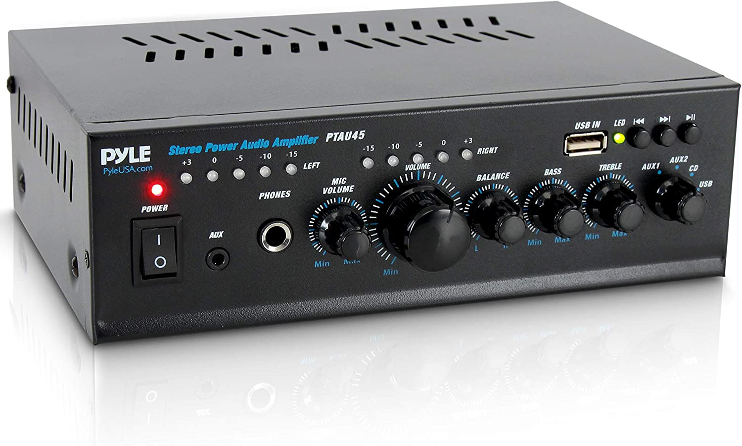 Pyle 240 Watt Home Audio Power Amplifier - Portable 2 Channel Stereo Receiver w/USB Cd DVD, MP3, iPhone, Phone, Theater, PA Amp Ptau45.5