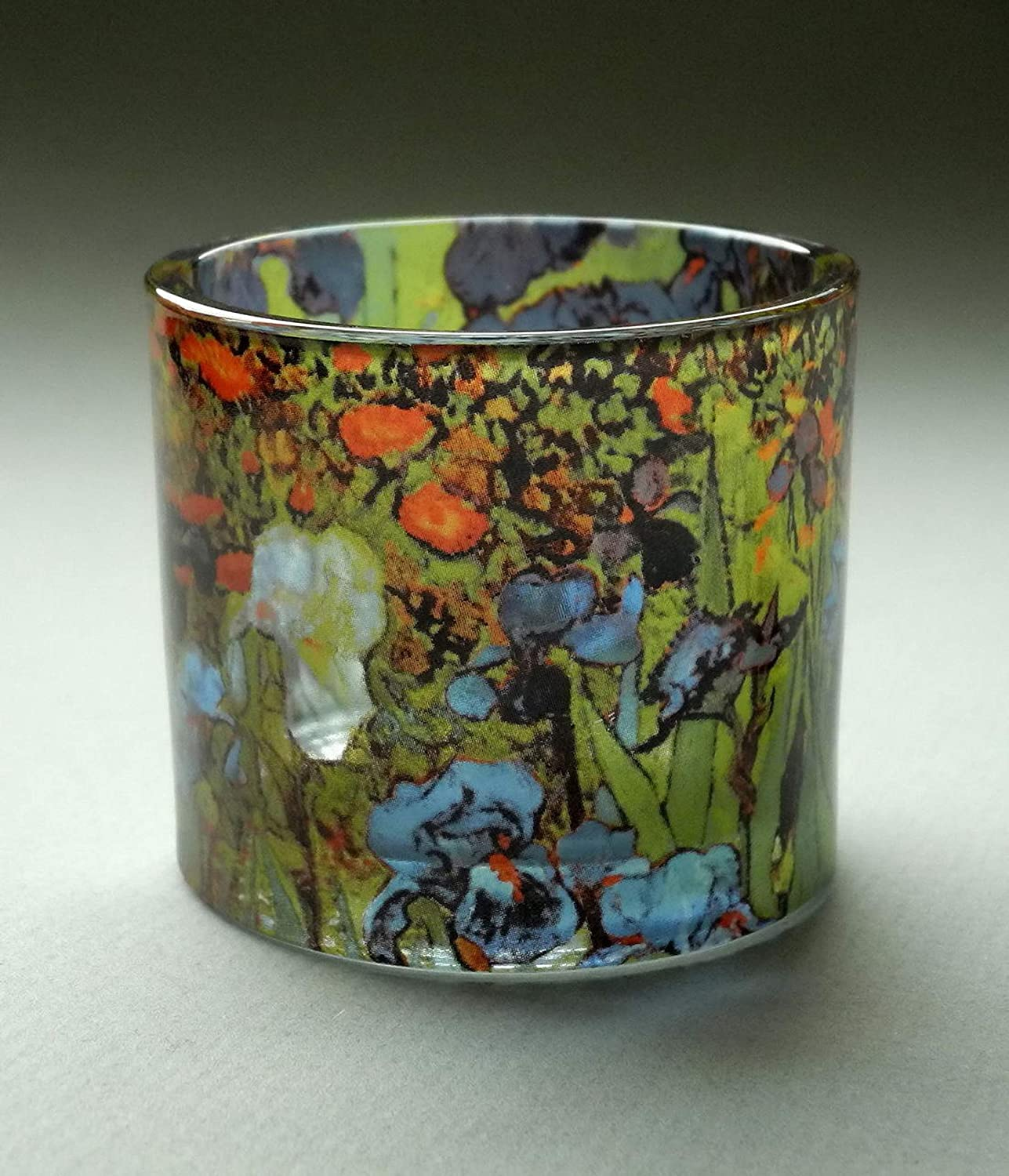 Van Gogh Irises Flowers Glass Tealight Candle Holder with Candle 2.3H