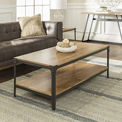 Walker Edison Furniture Company Rustic Wood Coffee Table, 46 Inch, Barnwood
