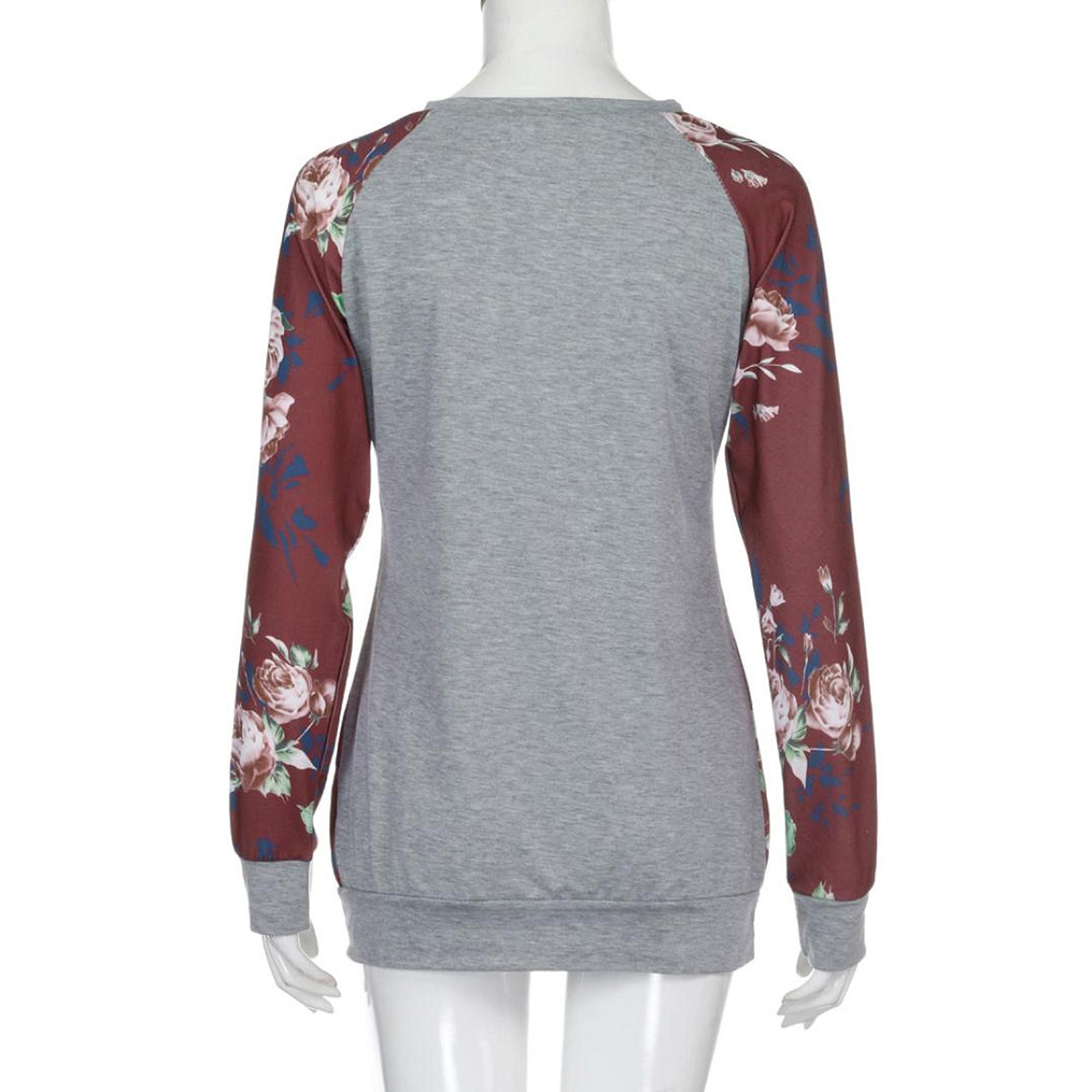 PPBUY Women Autumn Floral Printing Long Sleeve Shirt Casual Top Blouse (XL, Red) by PPBUY (Image #5)