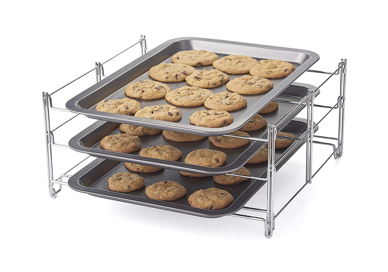 Betty Crocker Tier Insert with 3 Non-Stick Cookie Sheets Baking Rack, One Size, Charcoal and Chrome