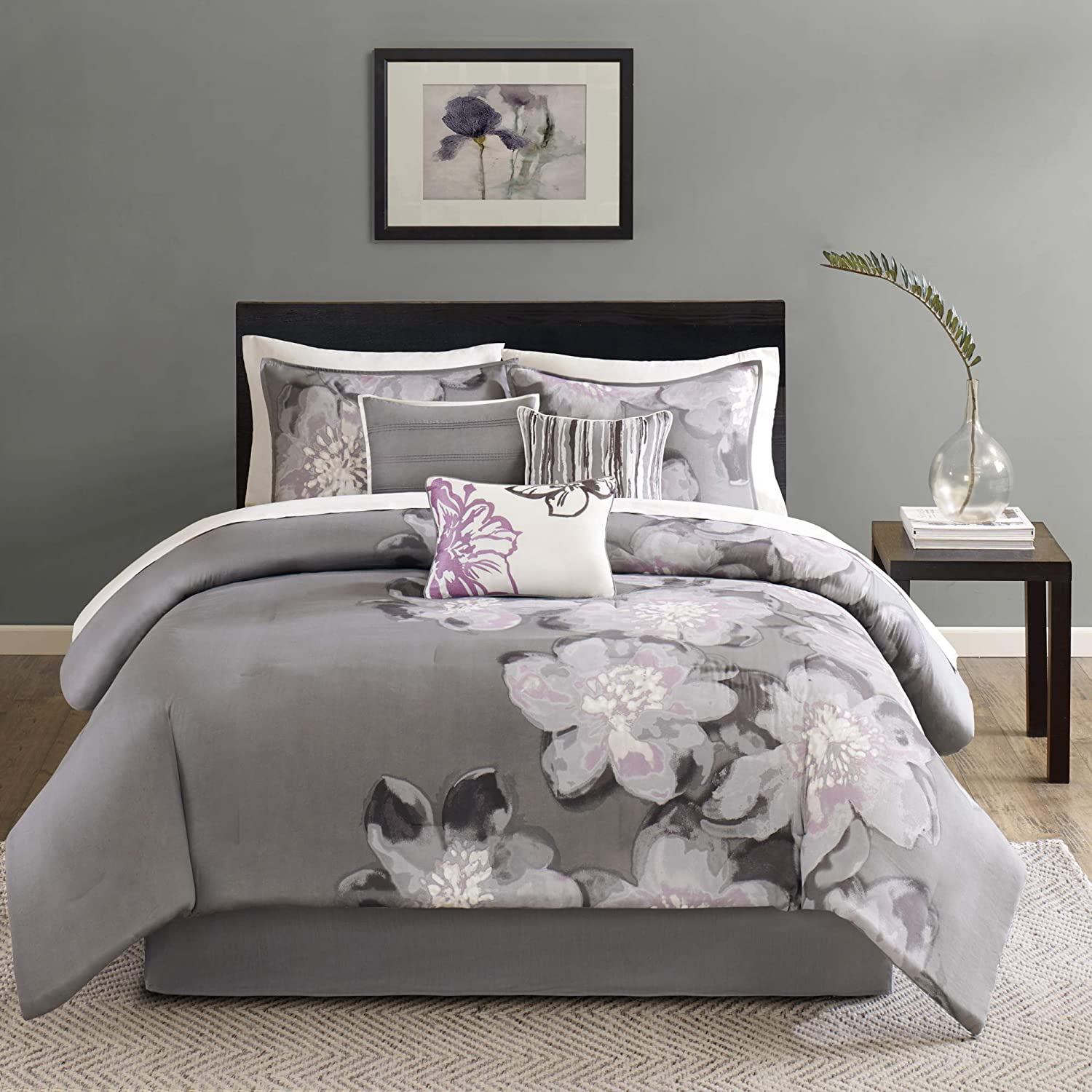 """Madison Park Cozy Comforter Nature Scenery Design All Season, Matching Bed Skirt, Decorative Pillows, Queen(90""""x90""""), Serena, Floral Grey, 7 Piece"""