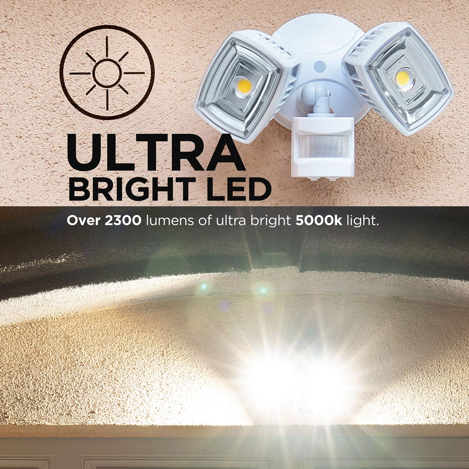 Home Zone ES00730U Security LED Motion Sensor Flood Lights, Outdoor Weatherproof Ultra Bright 5000K, White by Home Zone (Image #7)