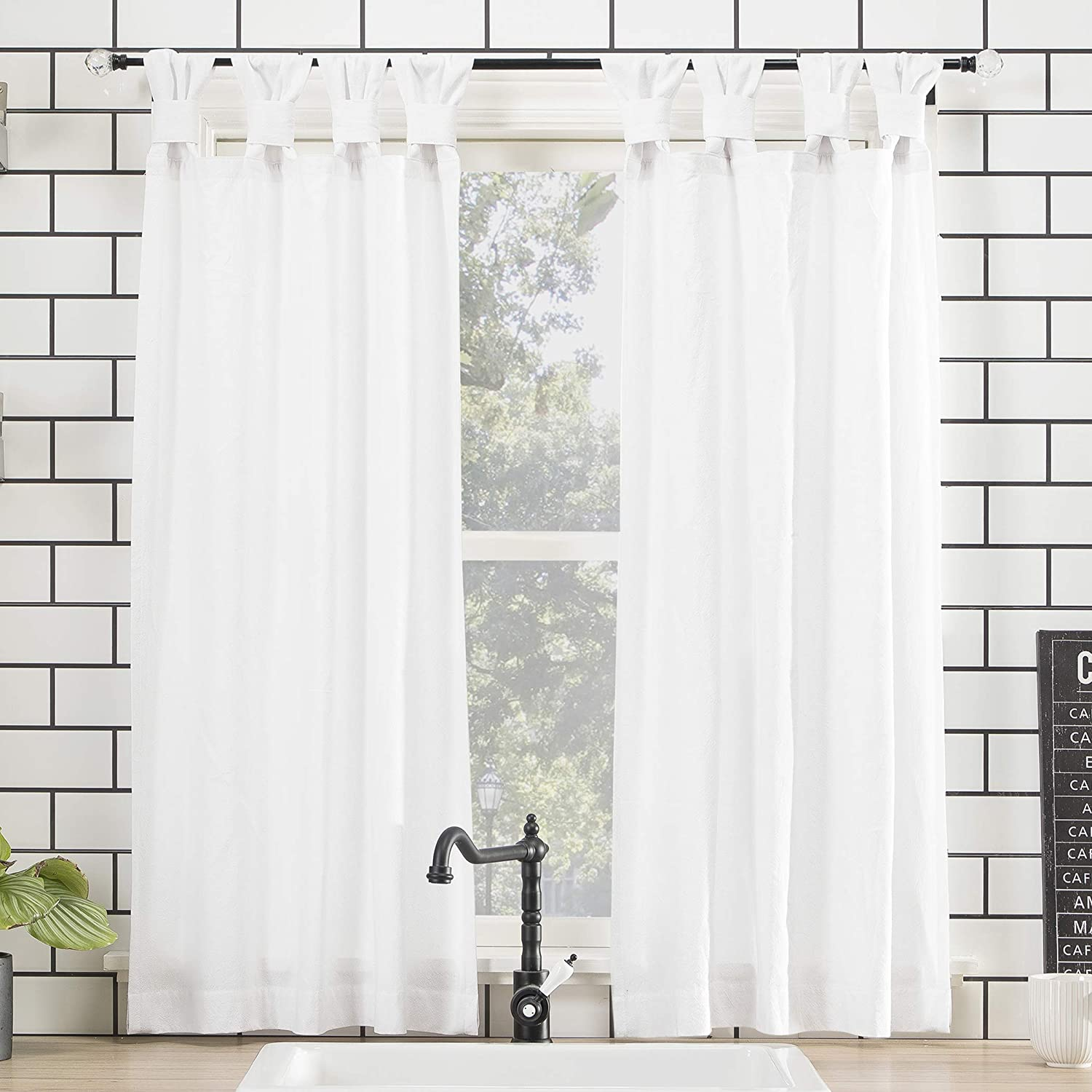 archaeo washed 100 cotton twist tab curtain 52 x 45 white