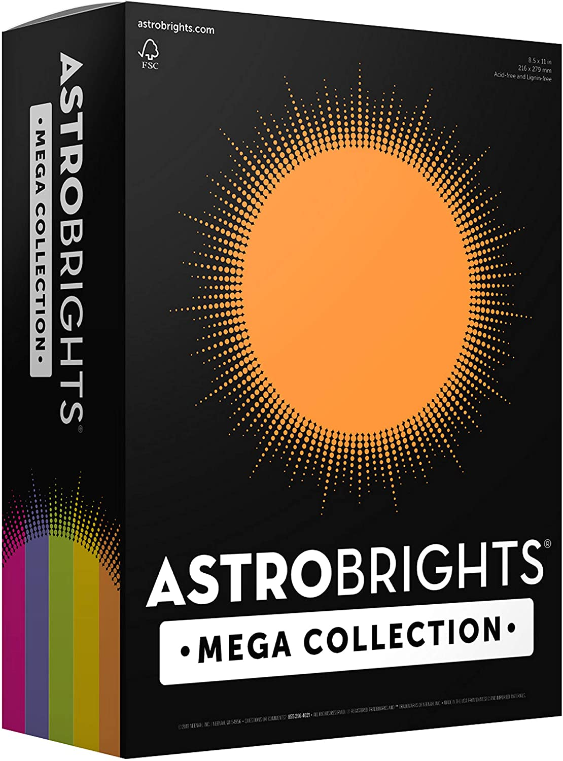 "Astrobrights Mega Collection 320 Sheets, 65 lb/176 gsm,""Joyful"" 5-Color Assorted Cardstock, 8 ½ x 11 (91631)"