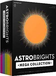"""Astrobrights Mega Collection 320 Sheets, 65 lb/176 gsm,""""Joyful"""" 5-Color Assorted Cardstock, 8 ½ x 11 (91631)"""
