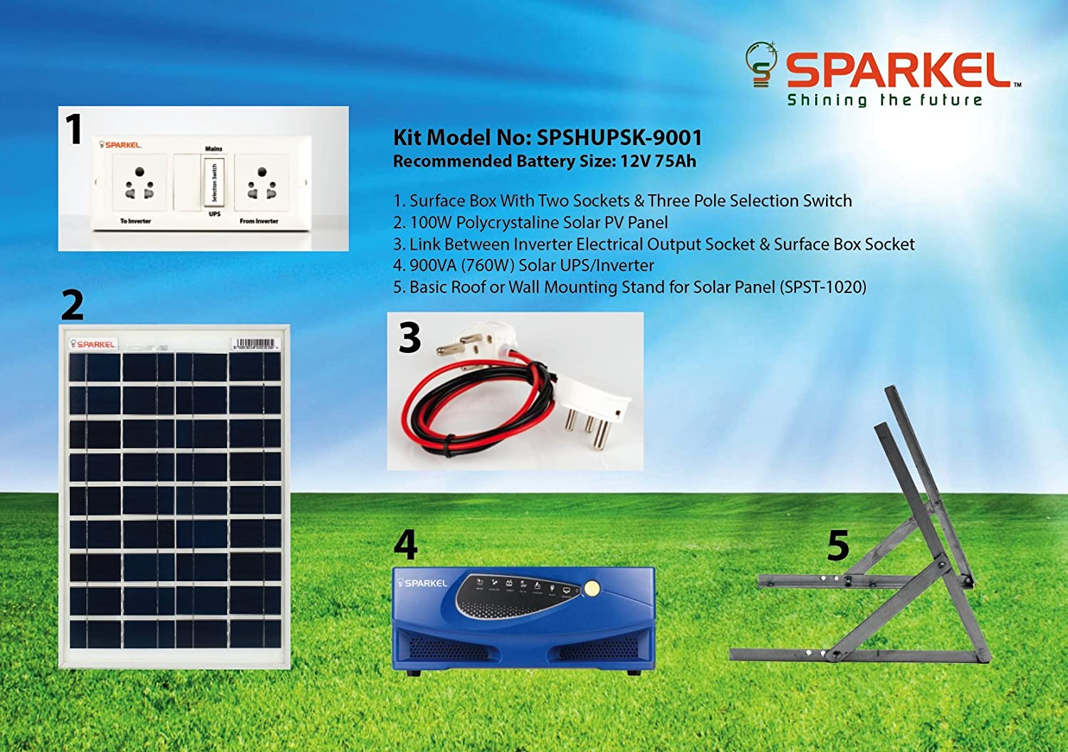 Sparkel Solar Home Ups Inverter Kit 900va 760w With 100w Panel 100 W Circuit Diagram Without Battery Spshupsk 9000 Garden Outdoors