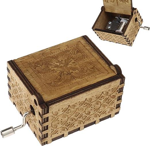 Cree Idear Harry Potter caja de música con grabado de madera vintage cajas de música manualidades coleccionables juguetes regalos: Amazon.es: Hogar