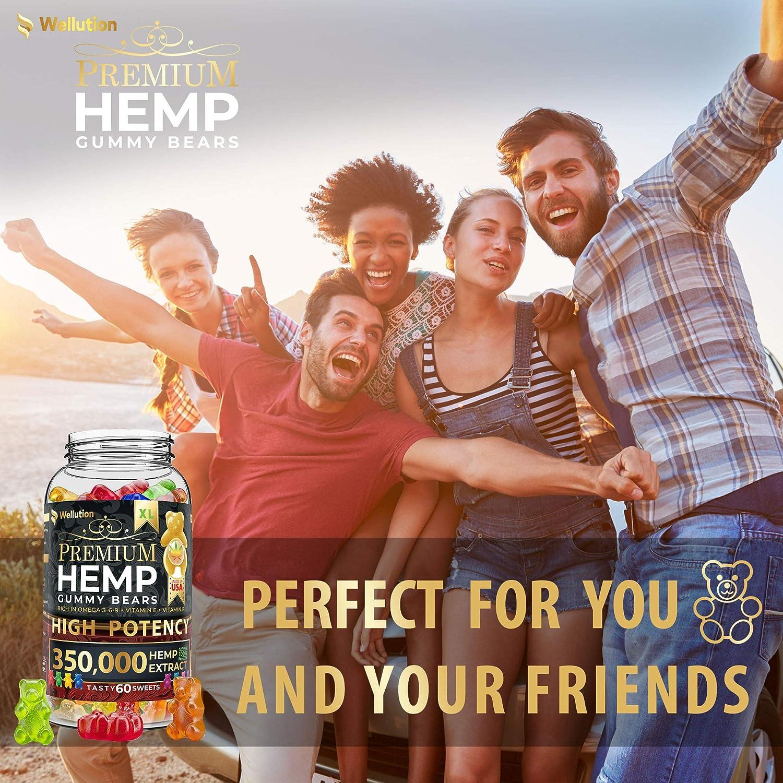 Hemp Gummies Premium 350000 High Potency  Fruity Gummy Bear with Hemp Oil  Natural Hemp Candy