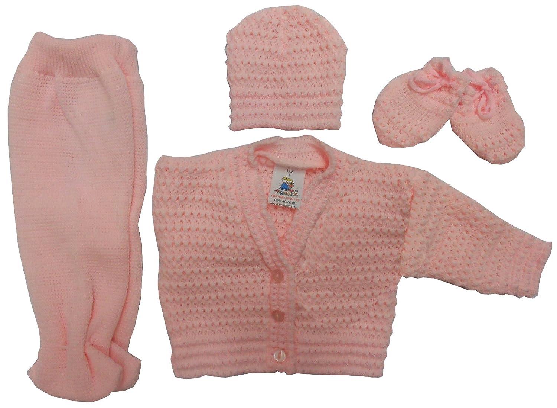 Aelstores Baby Boys Girls Knitted PRAM Set 4 Piece Gift Pants Jacket Mittens HAT Pink Blue Cream White New Size Age Newborn 0-3 Months
