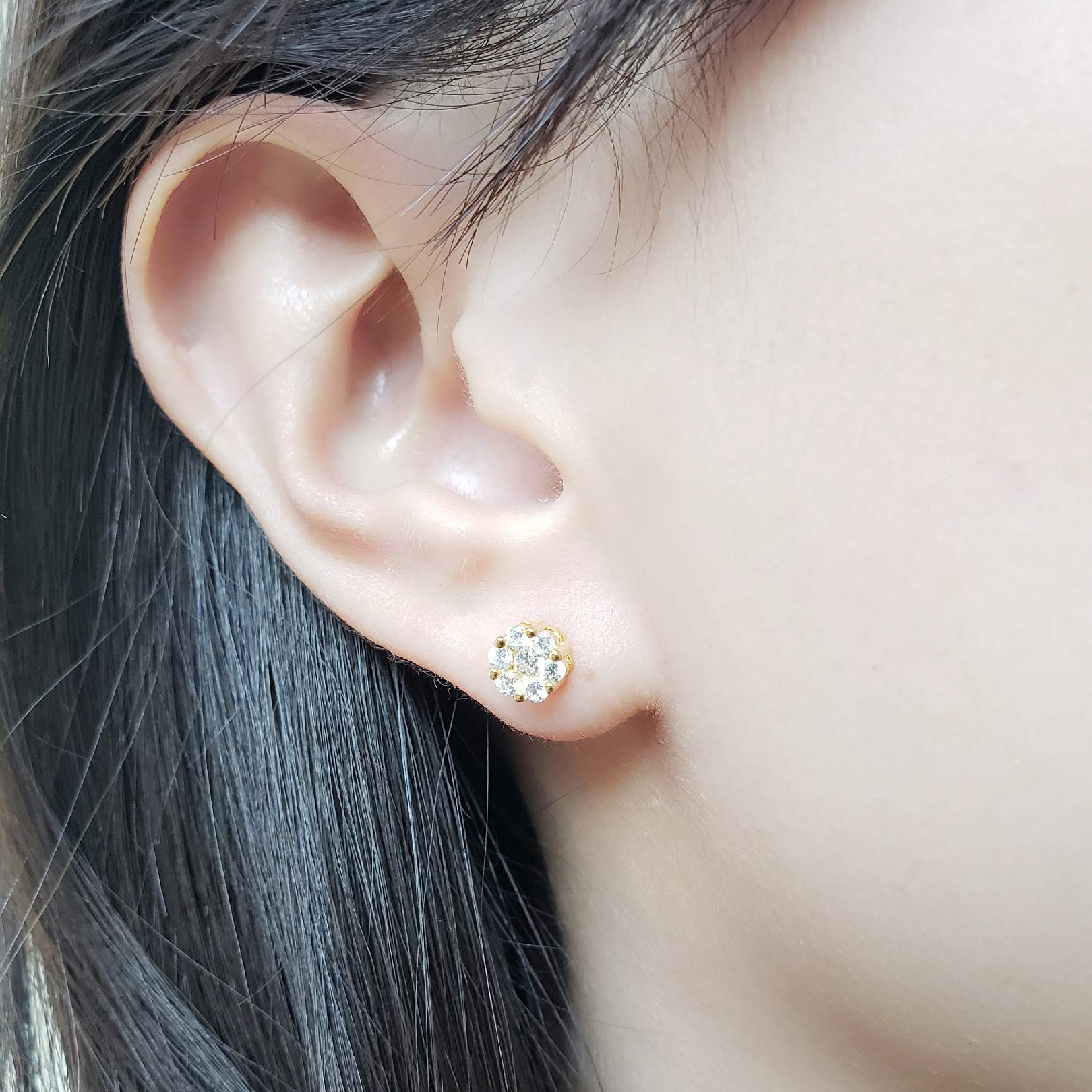 14k Yellow Gold-Plated Sterling Silver Cubic Zirconia Classic Halo Mini Flower Stud Earrings