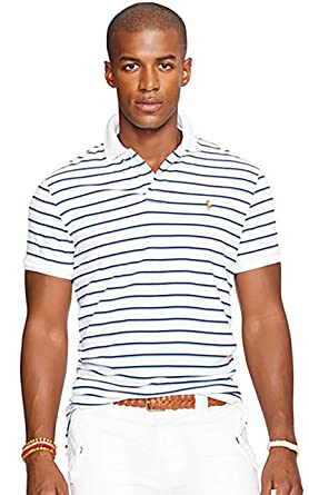 d1f9484b Polo Ralph Lauren Men's Pima Soft Touch Striped Polo, White Multi, Small