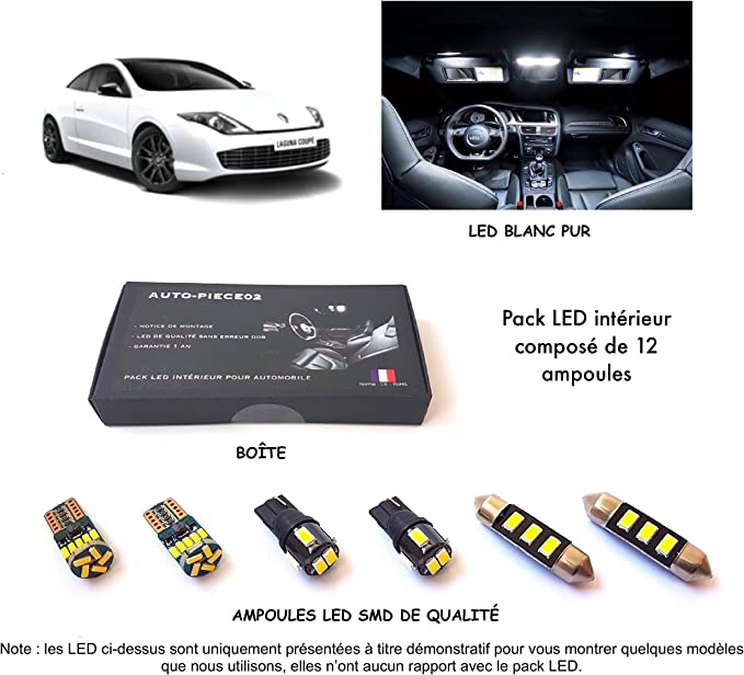 Pack Full LED Interior para Laguna 3 Coupé (Kit Bombillas Blanco ...