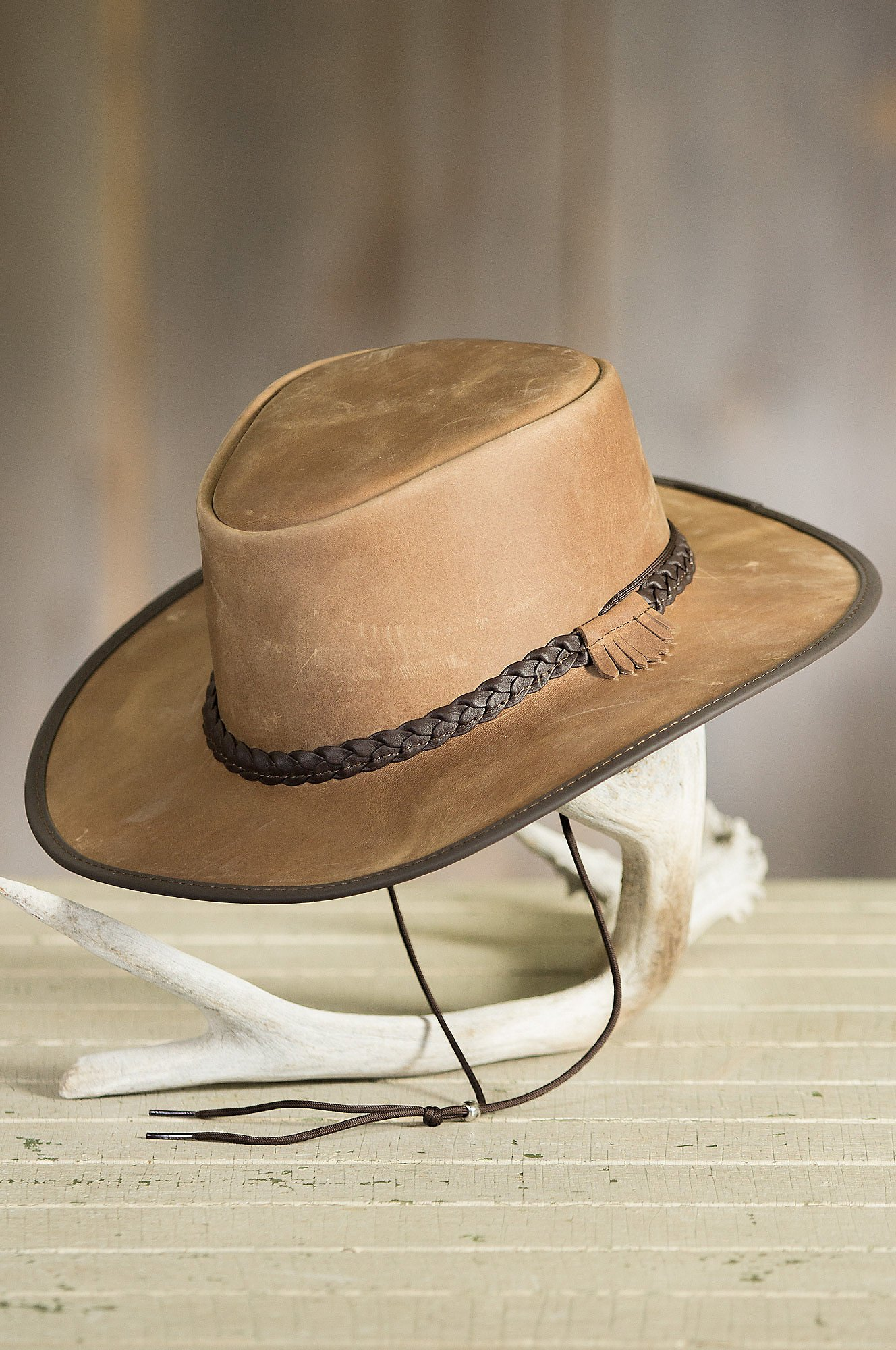 Bravo Leather Cowboy Hat, Pecan, Size XL (7 1/2-7 5/8) by Overland Sheepskin Co (Image #4)
