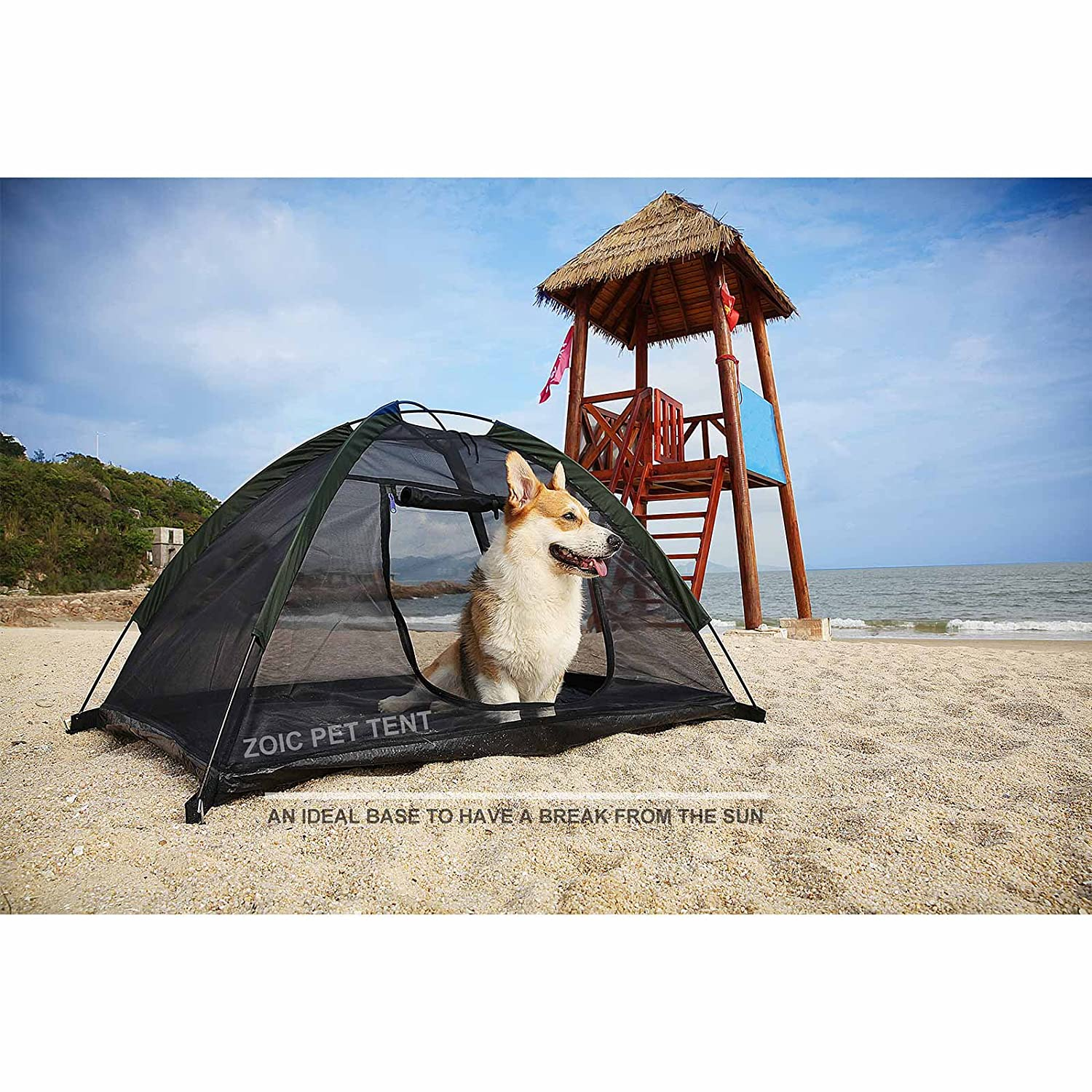 Black ZOIC Dog Cat Camping Tent Outdoor Travel Safety Pet Shelter Toy Storage (Black)