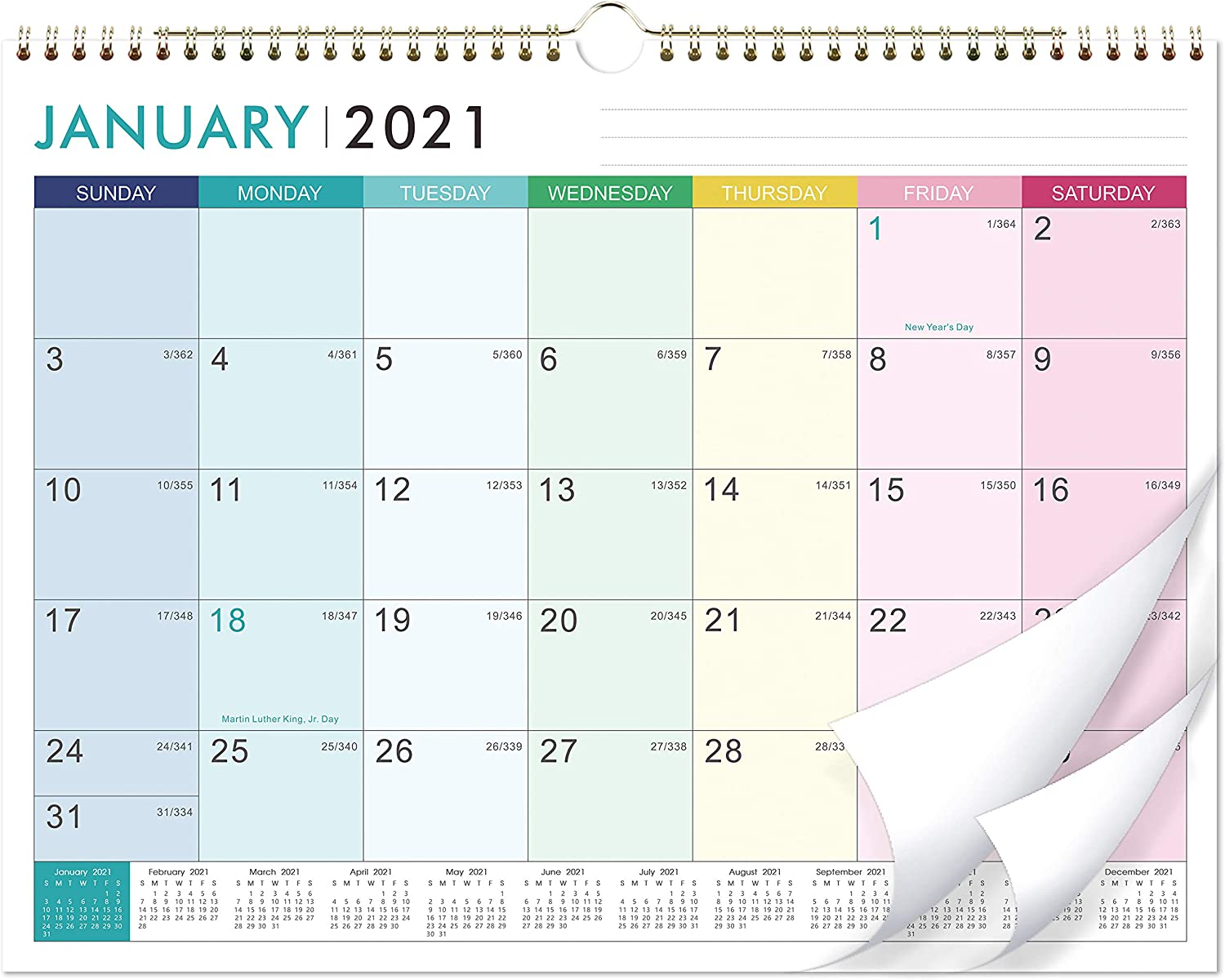 "2021 Calendar - 12 Monthly Wall Calendar with Thick Paper, 14"" x 11"", Jan. 2021 - Dec. 2021, Twin-Wire Binding + Hanging Hook + Unuled Blocks with Julian Date, Horizontal - Colorful Lump"