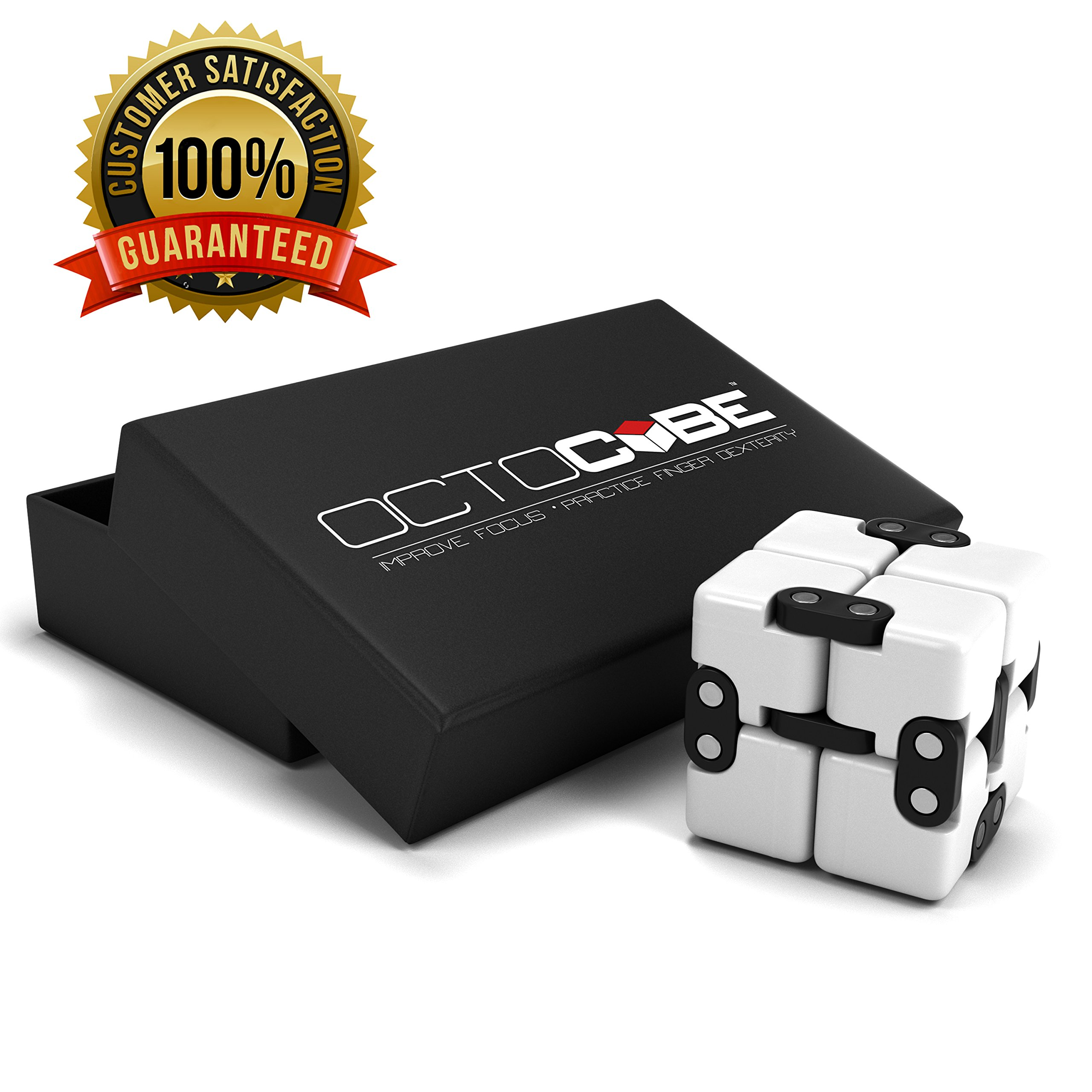 OCTOCUBE Infinity Cube Fidget Toy w/Gift Box - Luxury Infinite Cool Gadget for Kids, Adults - Prime Sensory Stress Relief, Pressure Reduction Unique Distraction for Autism, Quit Smoking - White
