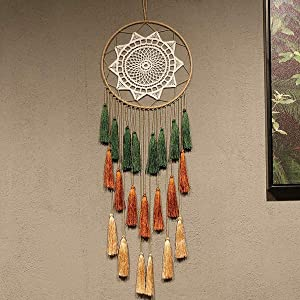Hwceo Dream Catcher for Teen Girls Room,Decoration Baby Boy Bedroom,Wall Art Decor Hanging Cute Bohemian Native American Sunflower Themed Vintage Rustic Rainbow Dreamcatcher Kit for Baby Shower,Yellow
